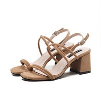 Wholesale Open Dress Shoes - New Fashion Women Dress Shoes Sandals Double Straps Open Toe Chunky Heel Shoes Free Shipping YonDream-376