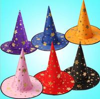 accessoires diable halloween achat en gros de-Sorcière Pointé Cap Coloré Étoiles Imprimer Halloween Costume Chapeau De Fête Chapeaux Femmes Hommes Costume D'halloween Accessoire Diable Cap 500 pcs