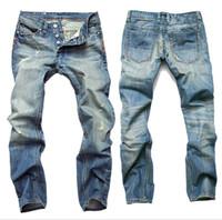 pantalones capri de algodón sueltos al por mayor-Nuevos hombres delgados pantalones ocasionales elásticos s de los hombres Pantalones luz azul Calidad ajuste flojo del dril de algodón Brand Jeans para hombres
