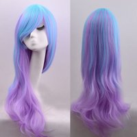 Wholesale Miku Hatsune Wig Curly - Perruque Hatsune miku Anime Ombre wig Long Curly Synthetic Hair Wig peluca Cosplay Purple wig peruca femininas