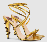 Wholesale Black Strappy Heel - Gold peep toe metal snake heel Decor sandals bowtie strappy sandals gladiator lace up female Bohemian prom Bridal wedding shoes