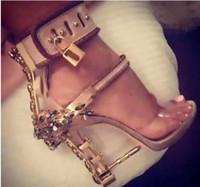 Wholesale Bejeweled Dresses - wholesale new Summer Luxury Designer Shoes Women Metal High Heel Crystal PVC Gladiator Sandals Padlock Bejeweled Ankle Strap Rhinestone Sand