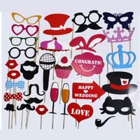 31 pz FAI DA TE Photo Booth Prop Partito Occhiali Baffo Labbro Sul Bastone Decorazioni Wedding Party Favor Mask Photobooth Puntelli WN0327