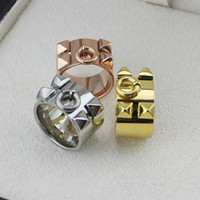 Wholesale China Trade Jewelry - Foreign trade jewelry wholesale H four rivet ring Width ring H lovers to buddhist monastic discipline Four nail ring
