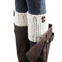 Wholesale Socks Knitting Needles - Wholesale-Knitted Leg Warmers Women's Boots Cuffs Winter Knit Brief Coarse Needle Leg-Warmer Boot Cover Socks Women Wholesale