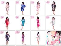 Wholesale Lingerie Girl Children - 10 colors kids Solid royan silk Robe girl children Satin Pajama Lingerie Sleepwear Kimono Bath Gown pjs Nightgown M024