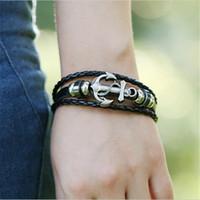 Wholesale Men S Anchor Bracelet - Weaving Retro Men 's Buckle Leather Bracelet Alloy Carrier Anchor Leather Bracelet Personalized Jewelry