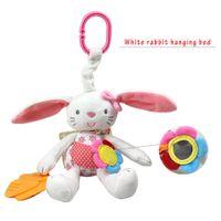 Wholesale Christmas Crib Bedding - Wholesale- Newborn Christmas Gift Cute Rabbit Doll Baby Rattle Ring Bell Soft Plush Rabbit Crib Bed Hanging Animal Toy