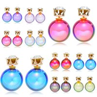 Wholesale color ball earring studs - Acrylic Double Earrings For Women 2017 cute Candy Color Round Ball crystal Double Ball Earrings