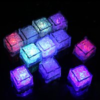 Wholesale submersible led rgb - RGB flash led cube lights Ice Cubes lights Flash Liquid Sensor Water Submersible LED Bar Light Up for Club Wedding Party Champagne Tower