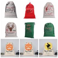 Wholesale Decoration Santa Claus - Christmas Gifts Bags Santa Claus Drawstring Bags Reindeers Christmas Sack Bags Halloween Storage Bag 14 design KKA2124