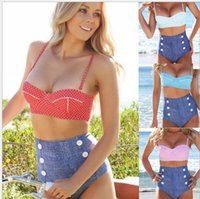 Wholesale vintage polka dot bikini resale online - Vintage Retro Pin Up High Waisted Push Up Bikini Sets Swimsuit Swimwear Polka Dot Button Bikini bathing suit KKA1312