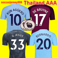 Wholesale Man City Soccer Jerseys - Thailand quality 17 18 De Bruyne MENDY soccer jerseys Adult men 2017 2018 KUN AGUERO city football shirt BERNARDO SILVA Camiseta uniforms
