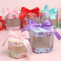 Wholesale Chocolate Candy Brands - 10pcs lot Brand New Wedding Creative Hexagon Candy Box Flower Pattern Romantic Ribbon for Wedding Supplies
