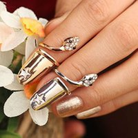 Wholesale Dragonfly Nail Designs - Exquisite Cute Retro Queen Dragonfly Design Rhinestone Plum Snake Gold Silver Ring Finger Nail Rings 080016
