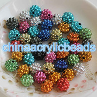 Wholesale Berry Beads Acrylic - Sparking Metallic Color Acrylic Berry Bracelet Chunky DIY Beads New 10MM 150pcs