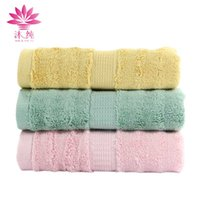 Wholesale Bamboo Absorbent Towel Face - muchun Brand Pure Plant Extracts Dye Plain Dobby Towel 60% Cotton 40% Bamboo Fiber Face Towel 34 cm*76 cm Soft Absorbent Towel