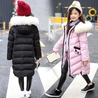 Wholesale Girls Size Down Coat - 2017 WINTER NEW GIRLS QUILTED WINTER COAT PUFFER FAUX WHITE FUR COLLAR HOODED JACKET PARKA SIZE AGE 5-13
