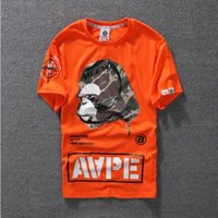 Wholesale Summer Cartoon Tops - Lovers Summer Mens Cartoon Apes T-Shirts Fashion Crew Neck Short-sleeve classic camo Printed Supply Co Male Tops Tees cartton casual tees