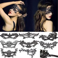 Wholesale Costume Eye Face Mask - Worldwide Black Sexy Lady Halloween Lace Mask Cutout Eye Mask for Masquerade Party Fancy Mask Costume for Halloween Party 1000pcs