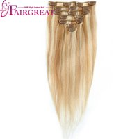 Wholesale Cheap Remy Hair Full Head - #P27 613 Clip-in Full Head Straight Human Hair Extensions 16 inch-20 inch Non Remy Brazilian Human Hair Weft Style Cheap Wholesalee price