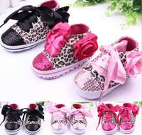 erste wanderer schuhe leopard großhandel-Kleinkind Baby Mädchen Schuhe Floral Leopard Pailletten Infant Weiche Sohle Erste Wanderer Baumwolle Schuhe G295