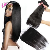 Wholesale One Piece Black Hair Extensions - XBL Silky Straight Human Hair Extension Brazilian 3 Pieces Straight Virgin Hair Within One Lace Frontal