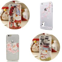 Wholesale Wholesale Fortune Cat - Cute Sakura Fortune Cat Phone Case For 7 6s 6 plus 5s SE Sumsang S7 edge Huawei P5 Soft TPU Cover Lovely Maneki Neko Back Cover OPP BAG