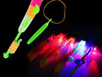 Wholesale Helicopter Novelty Toys - Novelty Children Toys Amazing LED Flying Arrow Helicopter for Sports Funny Slingshot Birthday Party Supplies Kids' Gift