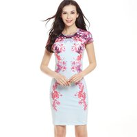 Wholesale Wholesale Women Short Tight Dress - 2017 new sexy slim short-sleeved printing dress fashion tight hip hip pen skirt casual dress manufacturers wholesale
