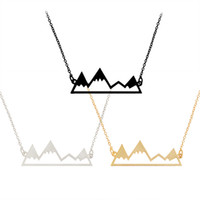 Wholesale Hollow Gold Jewelry - 2017 good friend friendship Collarbone chain necklace for girls Creative mountain hollow out Pendant Necklaces statement Jewelry wholesale
