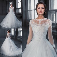 Wholesale Vestido De Noiva Princess Ball Gown Long Sleeve Lace Wedding Dresses See Through Tulle Vintage Bridal Gowns Robe De Mariage