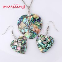 Wholesale Mother Pearl Necklace Pendants - Jewelry Sets Necklace Pendants Earrings Natural Abalone Shell Jewelry Set Accessories Fashion Charms Amulet Jewelry For Women