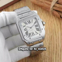 Wholesale Cheap White Gold Watches - Super Clone Luxury Brand Cheap 39mm 33mm Santo 100 W20098D6 White Dial Roman Numerals Automatic Mens Womens Watch Watches SS CARA304