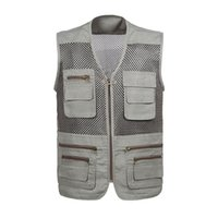 сетка фотографии жилет оптовых-Wholesale- High Quality Summer Men Vest Multifunctional Quick-Drying Mesh Vest Multi-Pocket Photography Waistcoat Sleeveless Jacket