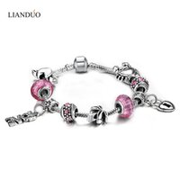 Barato Encanto De Óculos De Atacado-Wholesale-Love Charms Beads Bracelets For Women Wholesale Pulseiras De Prata Com Murano Beads DIY Jewelry