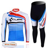 Wholesale Cube Long Jersey - 2017 CUBE Cycling thermal fleece Jersey Long Sleeve Set Bike Wear winter bicycle Clothing mtb Riding Outdoor Sportswear D1305