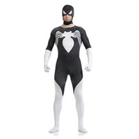 костюм-паук всего тела оптовых-Хэллоуин мужские Хэллоуин черный и белый Человек-Паук косплей костюмы лайкра Зентаи костюм супергероя всего тела костюм открытый рот