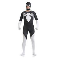 traje blanco de cuerpo completo al por mayor-Halloween Hombre Halloween Traje de Cosplay de Spiderman en Blanco y Negro Lycra Zentai Traje SuperHero Traje de Cuerpo Entero Boca Abierta