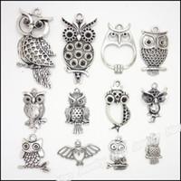 Wholesale Metal Charms Pendants Owl - mixed 48 pcs Vintage Charms Owl Pendant Antique silver Fit Bracelets Necklace DIY Metal Jewelry Making