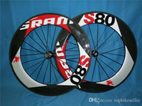 Wholesale Sram Carbon Clincher Wheelset - SRAM S80 88mm Carbon Wheelset clincher tubular + novatec hub+ quick release glossy matte (Include quick release,brake pads) A01