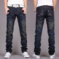 Wholesale Trouser Patterns For Men - Wholesale-2XL 2016 new brand clothing for men fashion full length pants denim trousers blue stright men jeans pockets