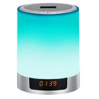 ingrosso luci di display a led senza fili-Altoparlante scheda Bluetooth luci senza fili orologio display portatile da comodino connessione USB ricarica all'aperto luce 3d