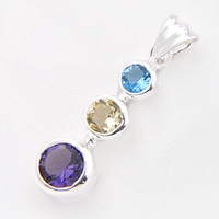 Wholesale Sterling Silver Small Pendants - Free And Fast Shipping 3piece lot 925 sterling silver small and exquisite amethyst pendant for lady party gift p1193
