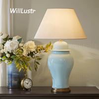 candeeiros de mesa venda por atacado-Lâmpada de mesa de cerâmica vitrificada colorido Frasco de porcelana rachado Gelo cobre base de tecido sombra mesa de luz estudo lâmpada de cabeceira sala de estar