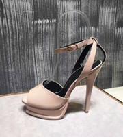 Wholesale Gray Dress Shoes Women - European Famous New Women High Heel Sandals Patent Genuine Leather Sandals Dresses Pumps 3cm Platforms Summer Shoes Woman Sandals ML3777