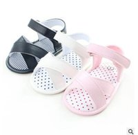 Wholesale Toddler Girl Polka Dot Shoes - Newborn Anti Slip Baby Shoes Sandals 2017 Summer Cross Dot Polka PU Leather Princess Baby Girl Shoes Toddler Prewalker Baby First Walker 232