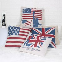 Wholesale American Flag Throw - UK USA Flag 45x45cm Pillowcase American British London Pillow Case Cover Home Decor Linen Cotton Throw Cushion Cover for Sofa Chair Bedding