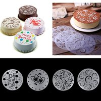 Wholesale Fondant Birthday Cakes - 4pcs cake biscuit stencil bakery tool fondant mold Bakeware Baking Fondant Cake Stencil Template Mold Birthday Spiral Decoration