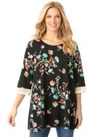 Wholesale Babydoll Top L - Wholesale- 3XL-10XL Large Size Print Lace Sleeve Babydoll Tunic Tshirt Tee Top Shirt Big Plus Size Women Clothing 4XL 5XL 6XL XXXXL
